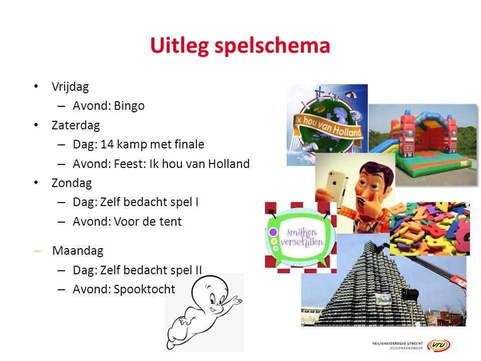 Uitleg spelschema Vrijdag – Avond: Bingo Zaterdag – Dag: 14 kamp met finale – Avond: Feest: Ik hou van Holland Zondag – Dag: Zelf bedacht spel I – Avo
