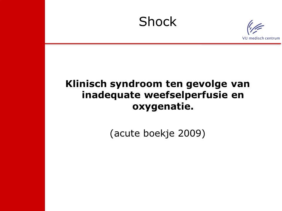 Shock Klinisch syndroom ten gevolge van inadequate weefselperfusie en oxygenatie. (acute boekje 2009)
