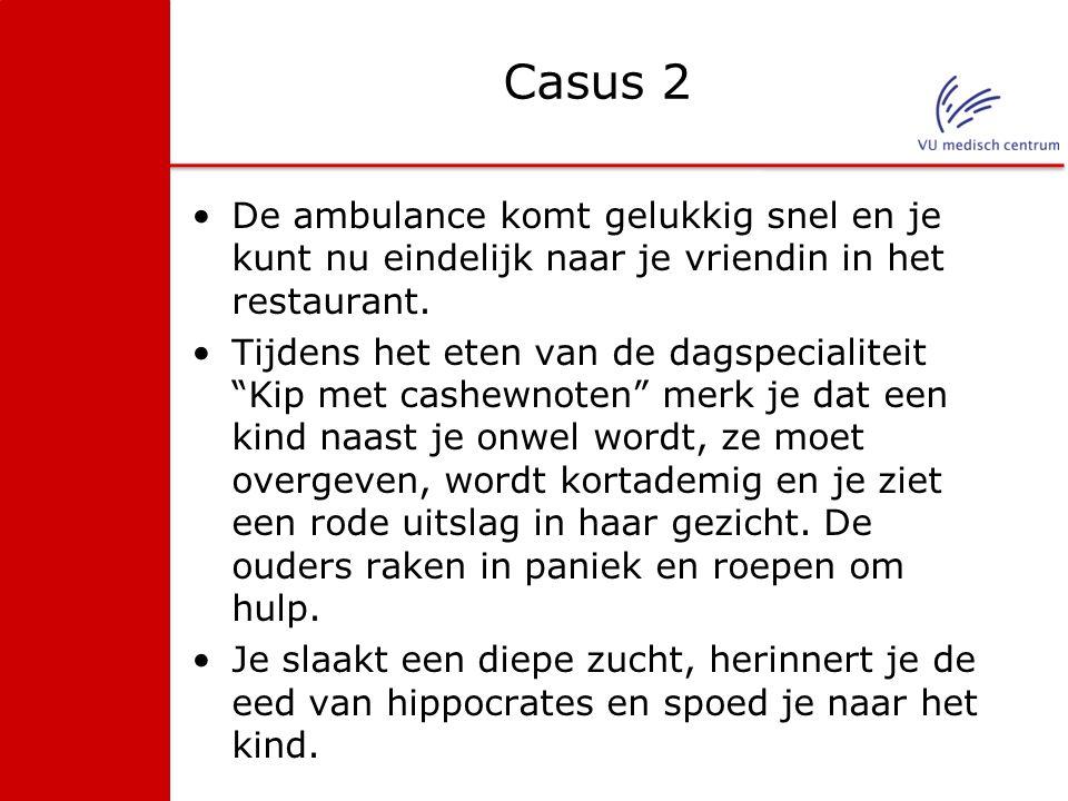 """Casus 2 De ambulance komt gelukkig snel en je kunt nu eindelijk naar je vriendin in het restaurant. Tijdens het eten van de dagspecialiteit """"Kip met c"""
