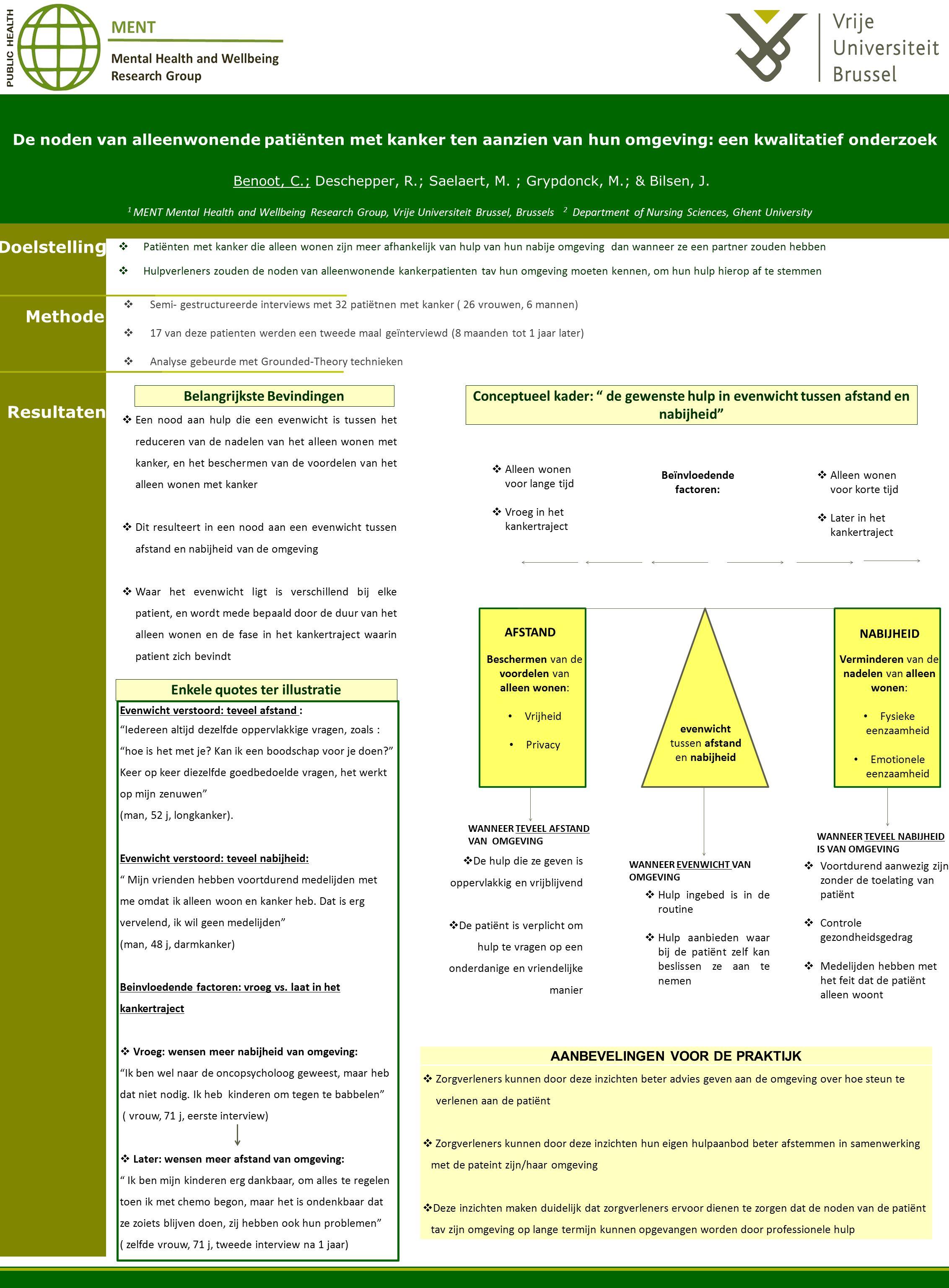 De noden van alleenwonende patiënten met kanker ten aanzien van hun omgeving: een kwalitatief onderzoek Benoot, C.; Deschepper, R.; Saelaert, M.
