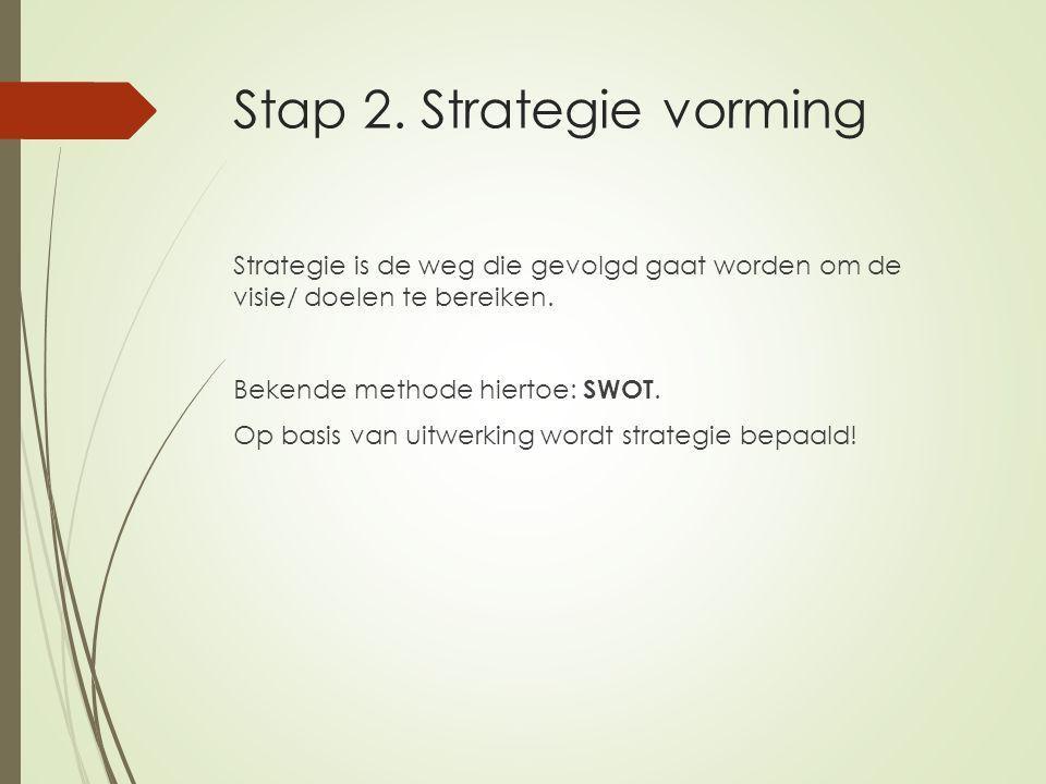Stap 2. Strategie vorming Strategie is de weg die gevolgd gaat worden om de visie/ doelen te bereiken. Bekende methode hiertoe: SWOT. Op basis van uit