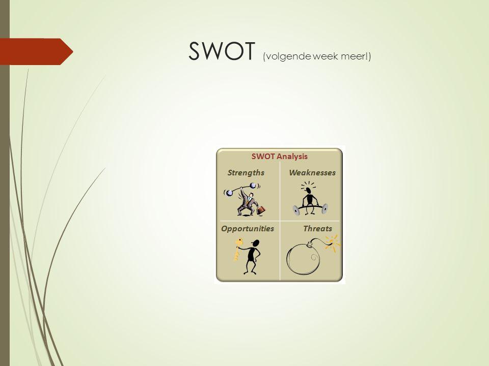 SWOT (volgende week meer!)