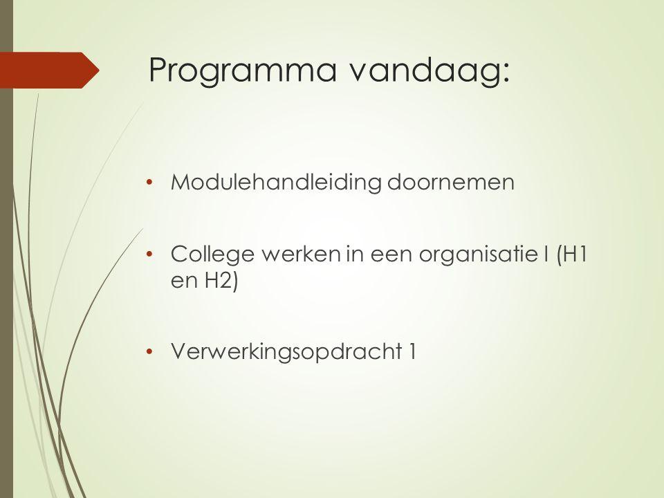 Programma vandaag: Modulehandleiding doornemen College werken in een organisatie I (H1 en H2) Verwerkingsopdracht 1