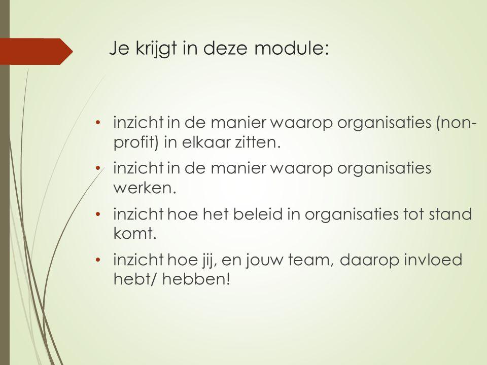 Je krijgt in deze module: inzicht in de manier waarop organisaties (non- profit) in elkaar zitten. inzicht in de manier waarop organisaties werken. in