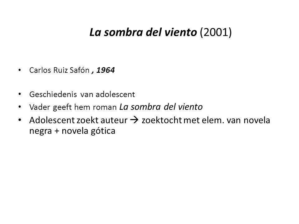 La sombra del viento (2001) Carlos Ruiz Safón, 1964 Geschiedenis van adolescent Vader geeft hem roman La sombra del viento Adolescent zoekt auteur  zoektocht met elem.