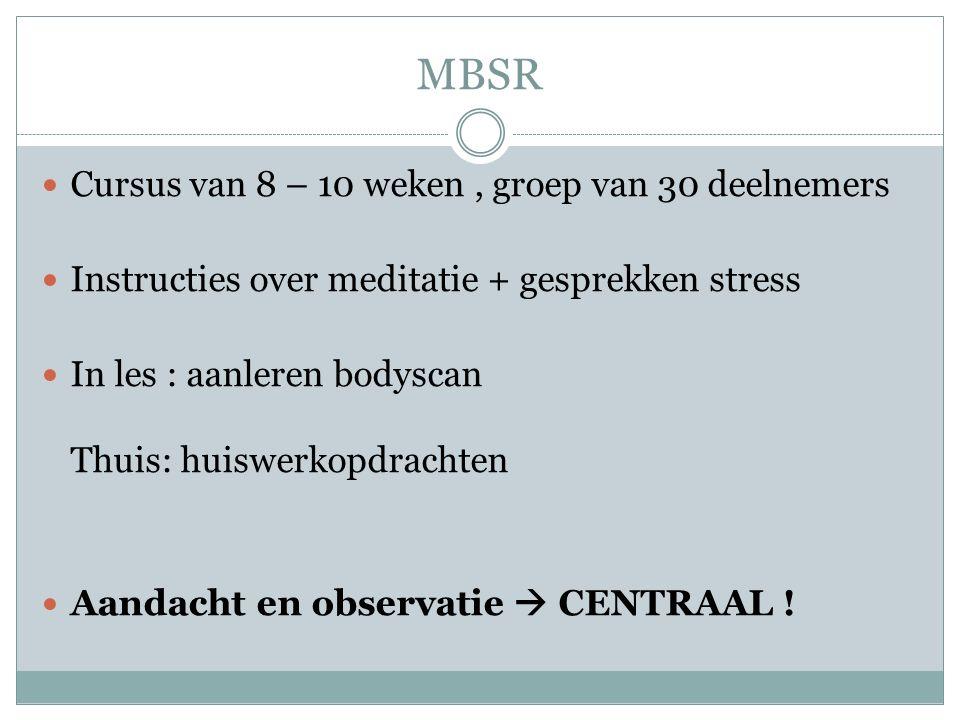 Doelgroep MBSR Personen met: Chronische stress Angststoornissen Paniekstoornissen HIV …