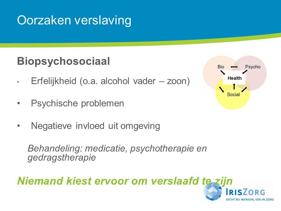 Oorzaken verslaving Biopsychosociaal Erfelijkheid (o.a. alcohol vader – zoon) Psychische problemen Negatieve invloed uit omgeving Behandeling: medicat