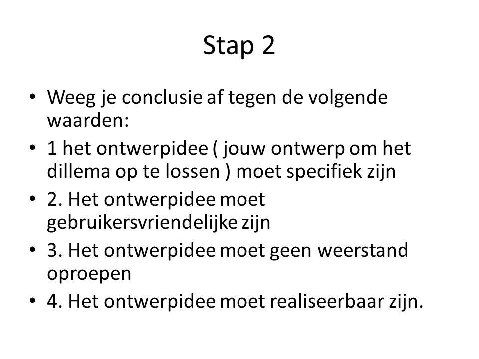 Nog steeds stap 2 Gebruik bijvoorbeeld figuur 8.5 om je overwegingen overzichtelijk te maken.