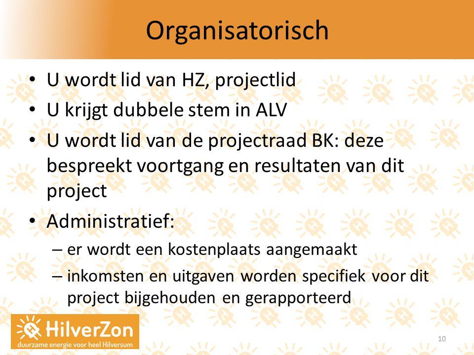 Organisatorisch U wordt lid van HZ, projectlid U krijgt dubbele stem in ALV U wordt lid van de projectraad BK: deze bespreekt voortgang en resultaten