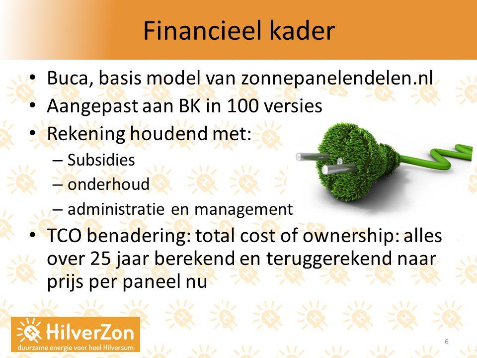 Financieel kader Buca, basis model van zonnepanelendelen.nl Aangepast aan BK in 100 versies Rekening houdend met: – Subsidies – onderhoud – administra