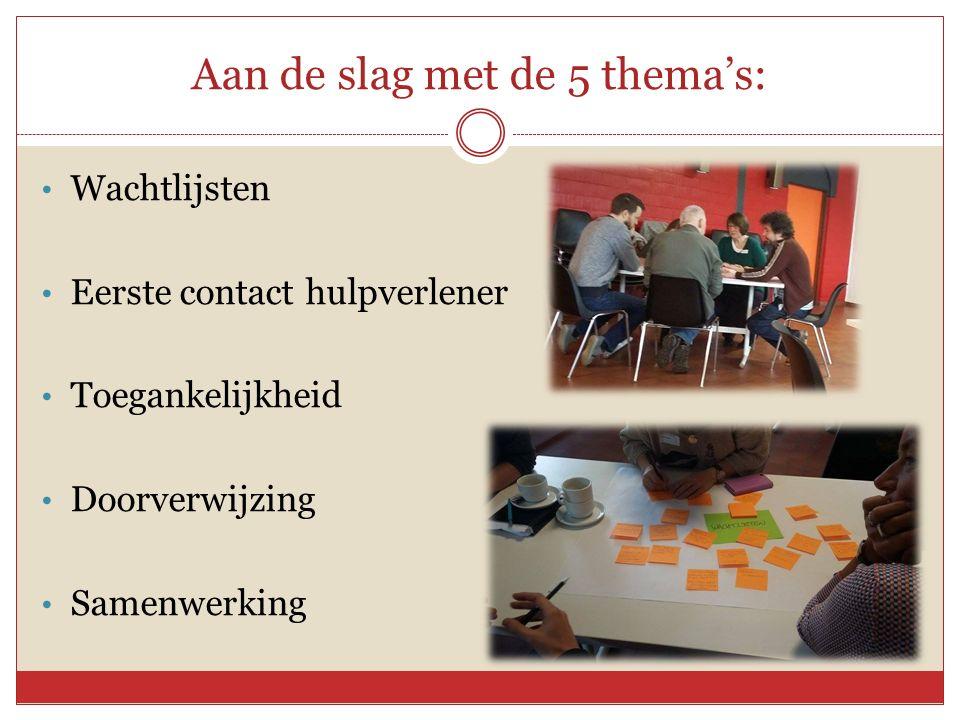 Aan de slag met de 5 thema's: Wachtlijsten Eerste contact hulpverlener Toegankelijkheid Doorverwijzing Samenwerking
