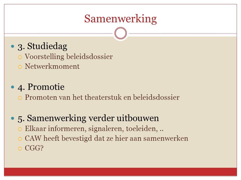 Samenwerking 3. Studiedag  Voorstelling beleidsdossier  Netwerkmoment 4.