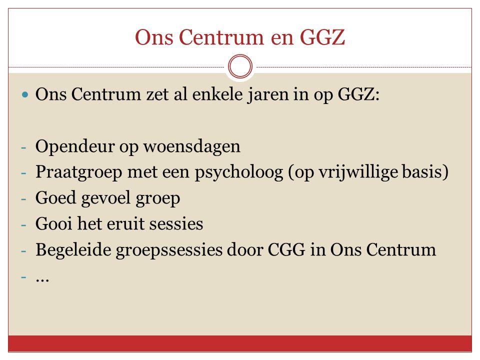 Ons Centrum en GGZ Ons Centrum zet al enkele jaren in op GGZ: - Opendeur op woensdagen - Praatgroep met een psycholoog (op vrijwillige basis) - Goed gevoel groep - Gooi het eruit sessies - Begeleide groepssessies door CGG in Ons Centrum - …