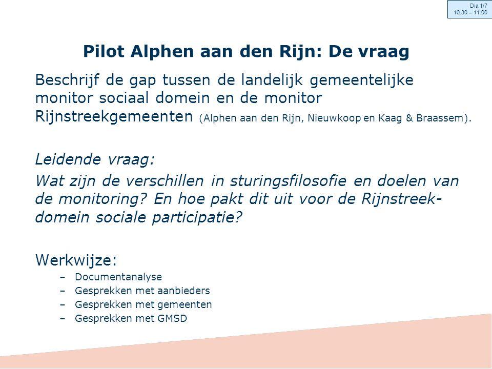 Context in de Rijnstreek (1) Rol van de gemeenten in de transformatie: opdrachtgever sturend op resultaat in kwaliteit, inhoud en op proces.