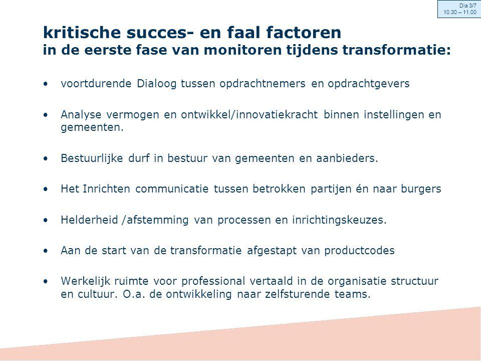 kritische succes- en faal factoren in de eerste fase van monitoren tijdens transformatie: voortdurende Dialoog tussen opdrachtnemers en opdrachtgevers Analyse vermogen en ontwikkel/innovatiekracht binnen instellingen en gemeenten.
