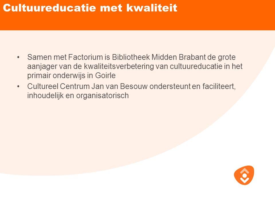 Cultuureducatie met kwaliteit Samen met Factorium is Bibliotheek Midden Brabant de grote aanjager van de kwaliteitsverbetering van cultuureducatie in