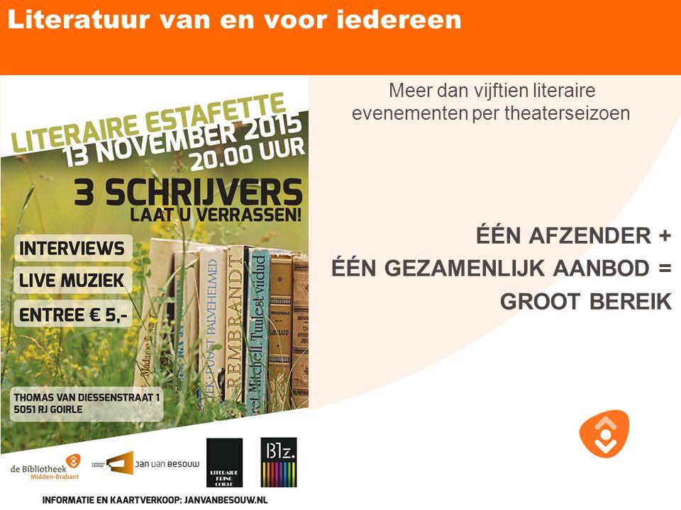 Literatuur van en voor iedereen Meer dan vijftien literaire evenementen per theaterseizoen ÉÉN AFZENDER + ÉÉN GEZAMENLIJK AANBOD = GROOT BEREIK