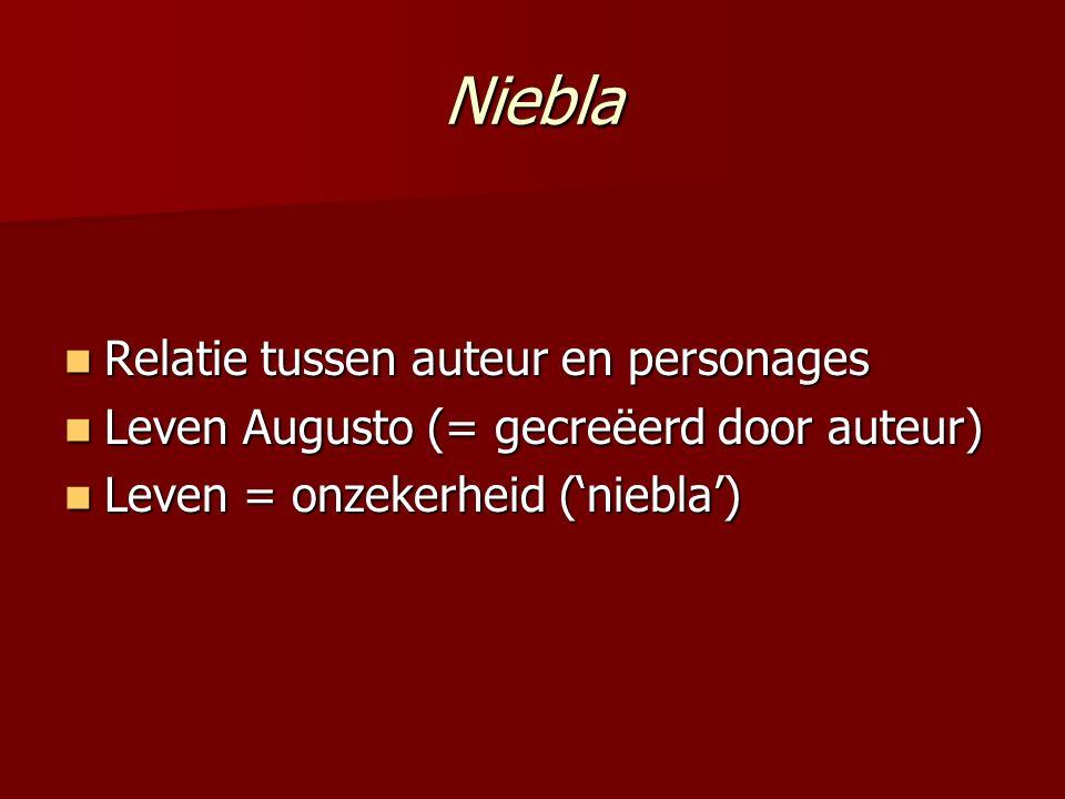 Niebla Relatie tussen auteur en personages Relatie tussen auteur en personages Leven Augusto (= gecreëerd door auteur) Leven Augusto (= gecreëerd door