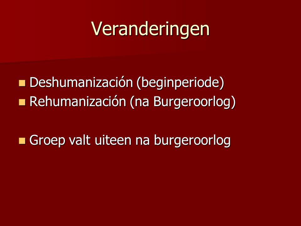 Veranderingen Deshumanización (beginperiode) Deshumanización (beginperiode) Rehumanización (na Burgeroorlog) Rehumanización (na Burgeroorlog) Groep va