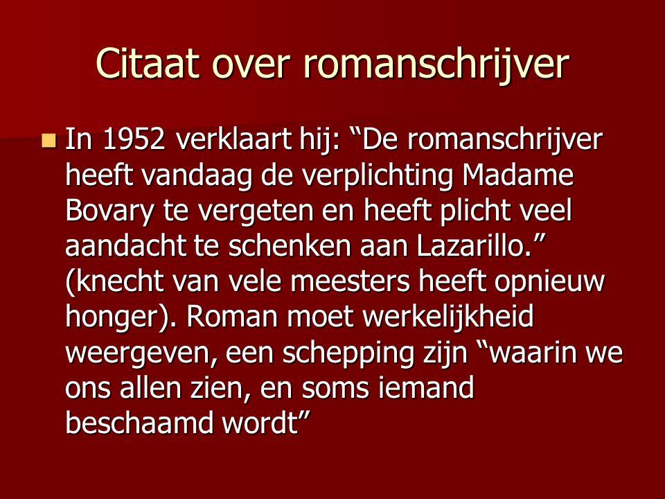 """Citaat over romanschrijver In 1952 verklaart hij: """"De romanschrijver heeft vandaag de verplichting Madame Bovary te vergeten en heeft plicht veel aand"""