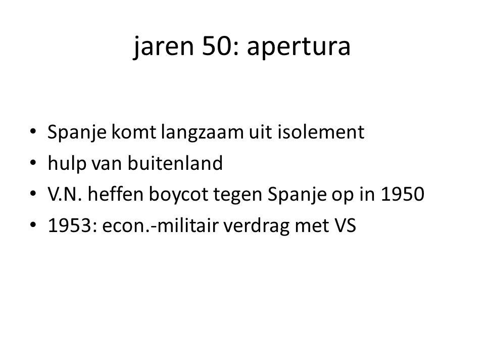 jaren 50: apertura Spanje komt langzaam uit isolement hulp van buitenland V.N.
