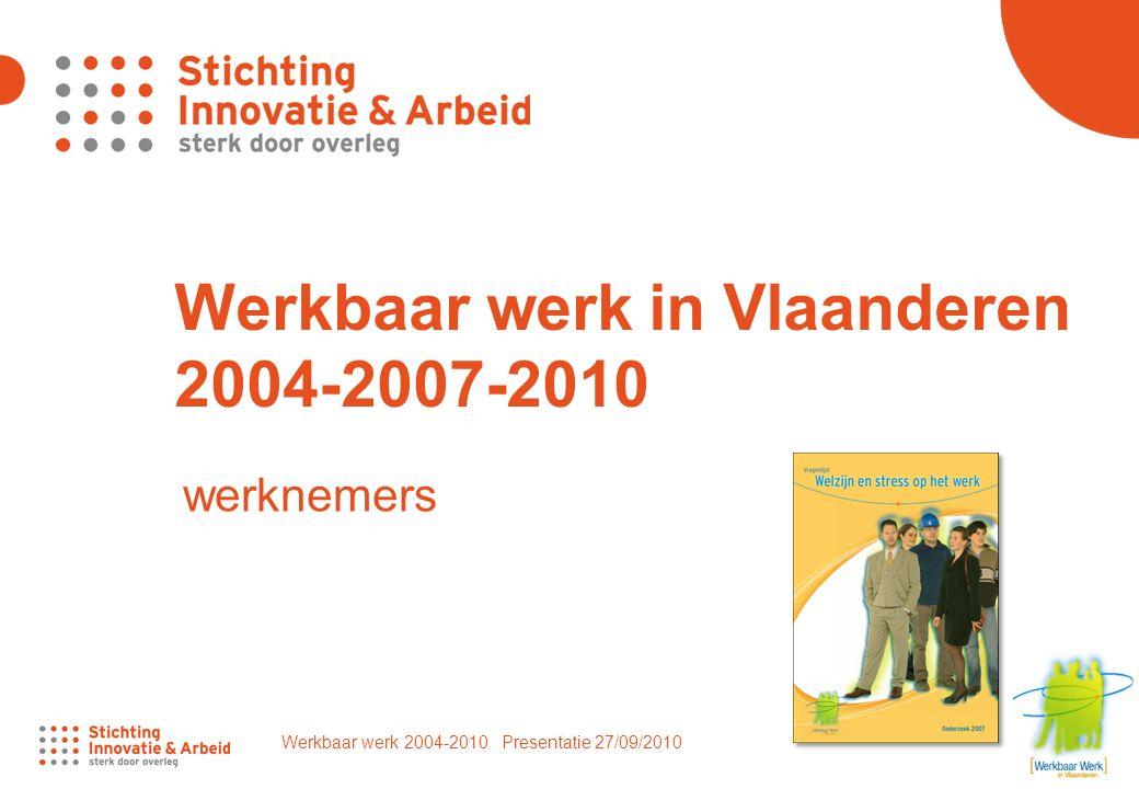 Werkbaar werk 2004-2010 Presentatie 27/09/2010 1 Werkbaar werk in Vlaanderen 2004-2007-2010 werknemers