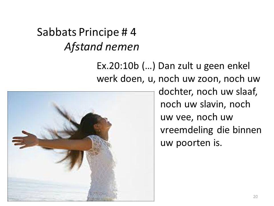 20 Sabbats Principe # 4 Afstand nemen Ex.20:10b (…) Dan zult u geen enkel werk doen, u, noch uw zoon, noch uw dochter, noch uw slaaf, noch uw slavin, noch uw vee, noch uw vreemdeling die binnen uw poorten is.