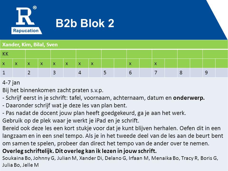 B2b Blok 2 Xander, Kim, Bilal, Sven KK xxxxxxxxxx 123456789 4-7 jan Bij het binnenkomen zacht praten s.v.p.