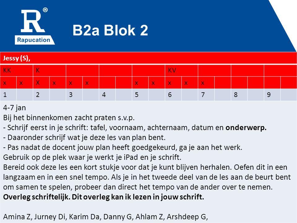 B2a Blok 2 Jessy (S), KKKKV xxXxxxxxxxx 123456789 4-7 jan Bij het binnenkomen zacht praten s.v.p.