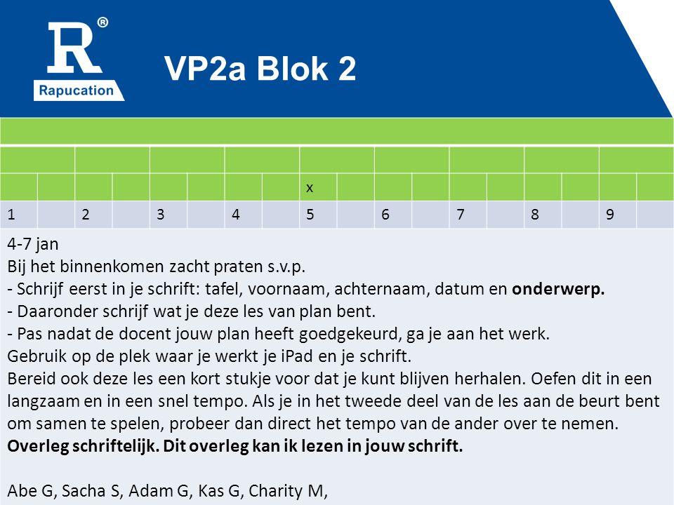 VP2a Blok 2 x 123456789 4-7 jan Bij het binnenkomen zacht praten s.v.p.
