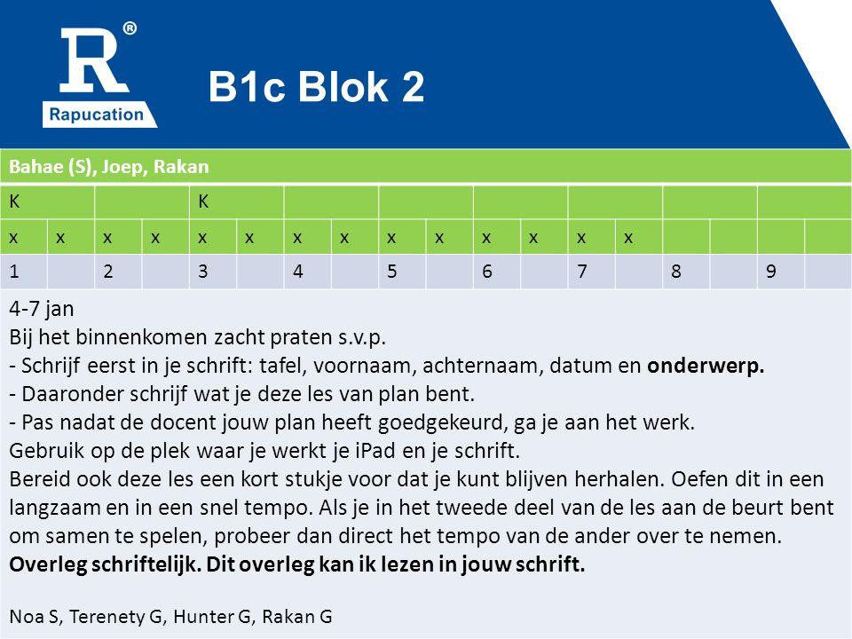 B1c Blok 2 Bahae (S), Joep, Rakan KK xxxxxxxxxxxxxx 123456789 4-7 jan Bij het binnenkomen zacht praten s.v.p. - Schrijf eerst in je schrift: tafel, vo