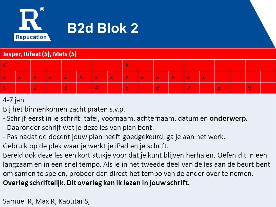 B2d Blok 2 Jasper, Rifaat (S), Mats (S) KK xxxxxxxxxxxxxx 123456789 4-7 jan Bij het binnenkomen zacht praten s.v.p.