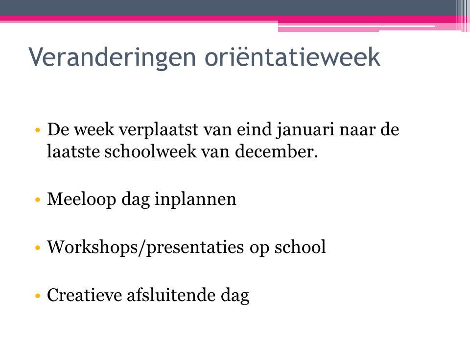 Veranderingen oriëntatieweek De week verplaatst van eind januari naar de laatste schoolweek van december.