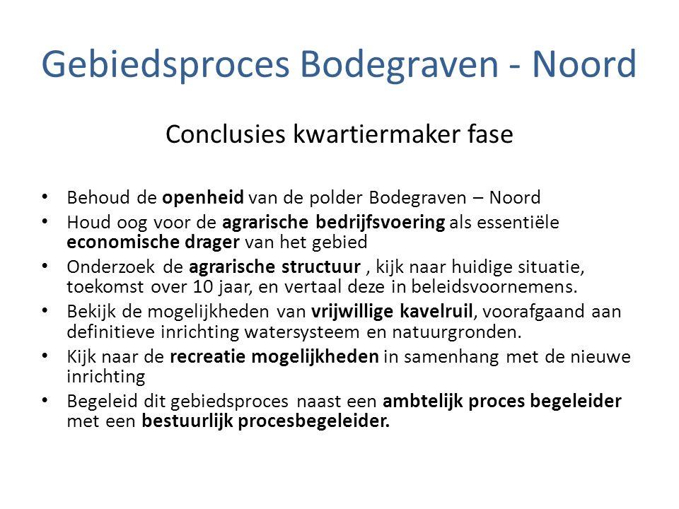 Gebiedsproces Bodegraven - Noord Conclusies kwartiermaker fase Behoud de openheid van de polder Bodegraven – Noord Houd oog voor de agrarische bedrijf