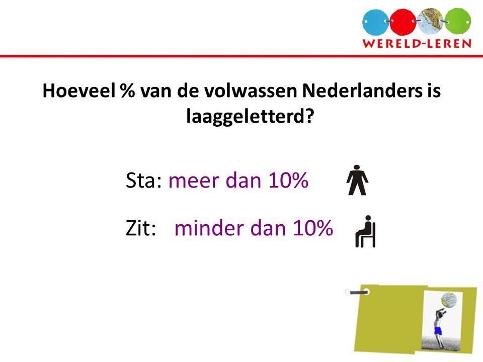 Hoeveel % van de volwassen Nederlanders is laaggeletterd? Sta: meer dan 10% Zit: minder dan 10%
