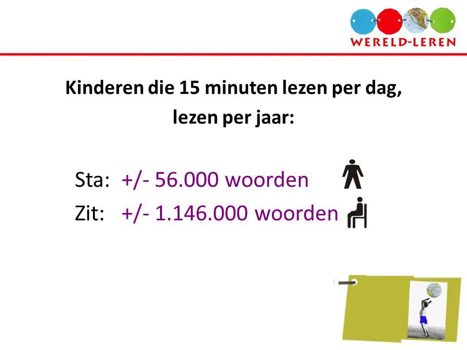 Kinderen die 15 minuten lezen per dag, lezen per jaar: Sta:+/- 56.000 woorden Zit:+/- 1.146.000 woorden