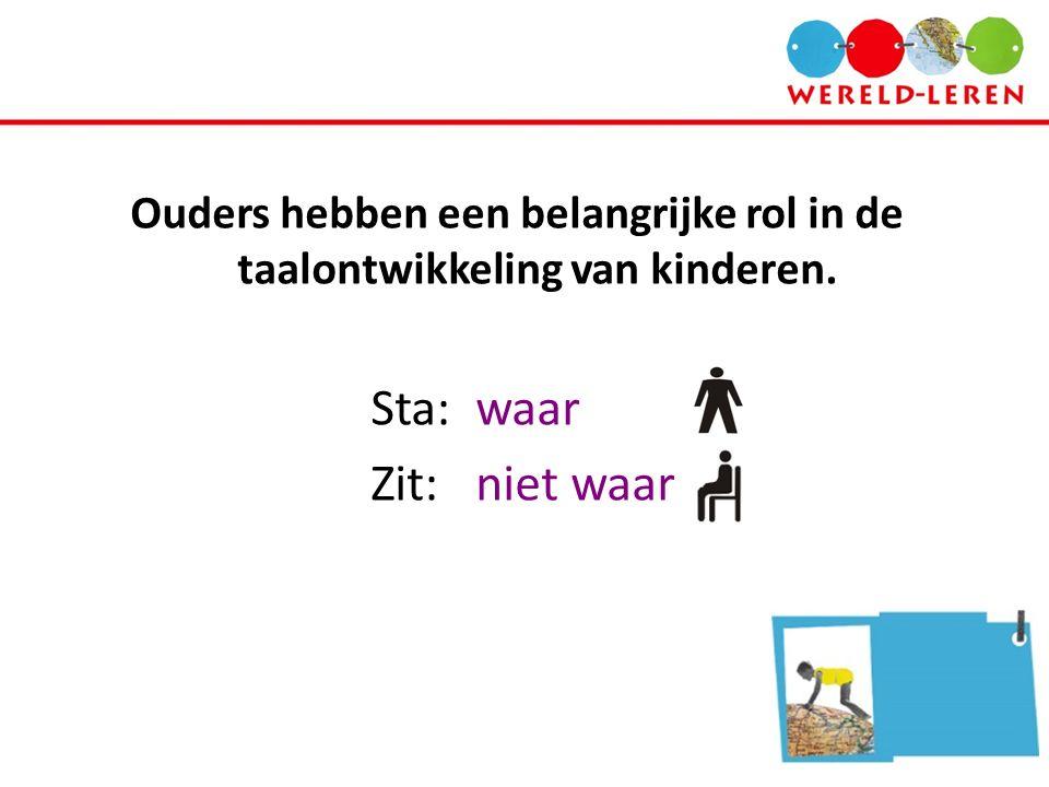Ouders hebben een belangrijke rol in de taalontwikkeling van kinderen. Sta:waar Zit: niet waar