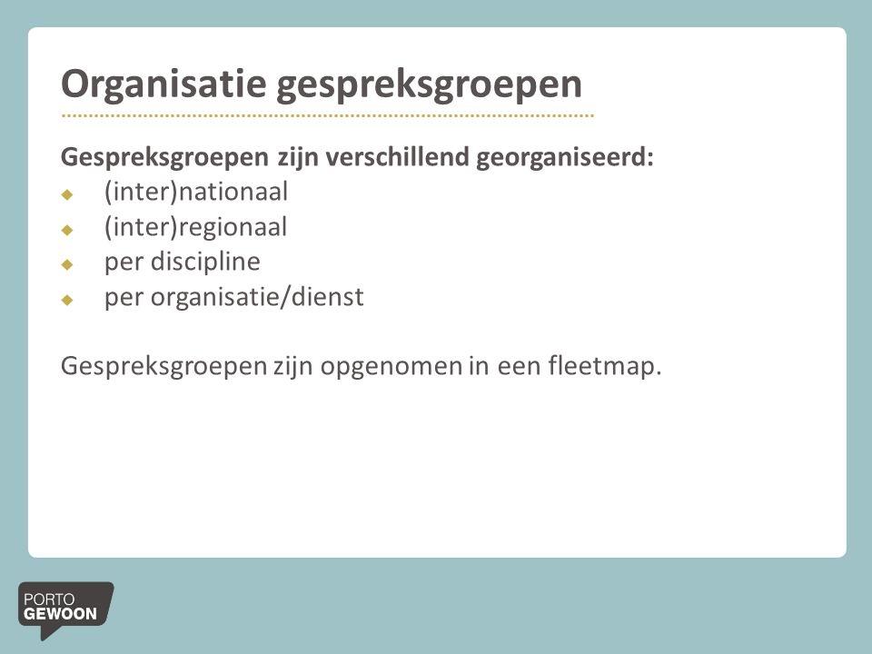 Organisatie gespreksgroepen Gespreksgroepen zijn verschillend georganiseerd:  (inter)nationaal  (inter)regionaal  per discipline  per organisatie/