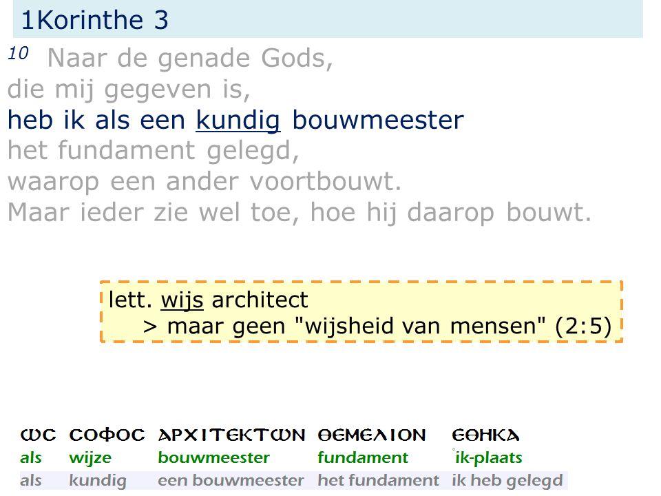 1Korinthe 3 14 Indien het werk, dat hij erop gebouwd heeft, standhoudt, zal hij loon ontvangen, = het werk (van de Heer) dat blijft.