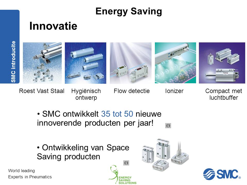 World leading Experts in Pneumatics Energy Saving Innovatie SMC heeft wereldwijd meer dan 1.300 R&D engineers SMC ontwerpt vanuit het standpunt van de