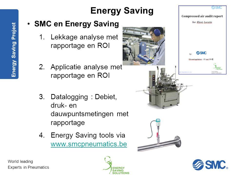 World leading Experts in Pneumatics Energy Saving Component Energie minimalisatie (In verhouding tot productie) Energie optimalisatie (Efficiëntie in