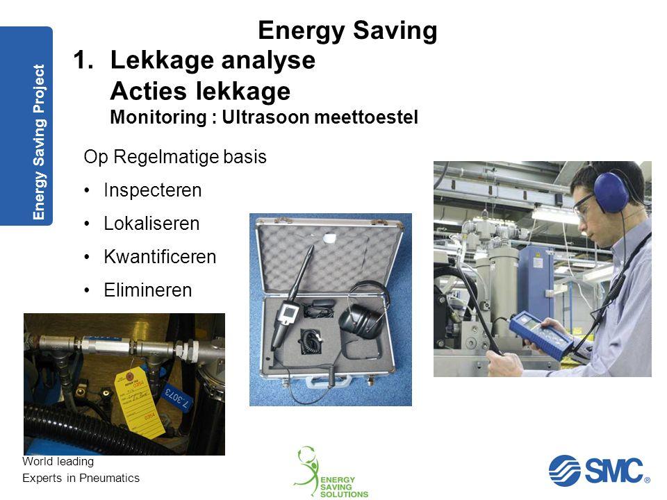 World leading Experts in Pneumatics Energy Saving Energy Saving Project Lekbewaking / Digitale flowmeting 1.Lekkage analyse Acties lekkage