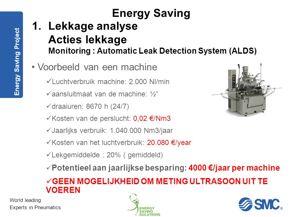 World leading Experts in Pneumatics Energy Saving 1.Lekkage analyse Acties lekkage Monitoring : Ultrasoon meettoestel Energy Saving Project Rapportage