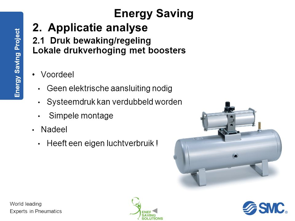 World leading Experts in Pneumatics Energy Saving Energy Saving Project 2. Applicatie analyse 2.1 Druk: bewaking en regeling Lokale drukverhoging met