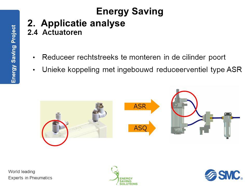 World leading Experts in Pneumatics Energy Saving Drukverlaging in teruggaande beweging met behulp van reduceerventiel. 30 % minder luchtverbruik. 2.