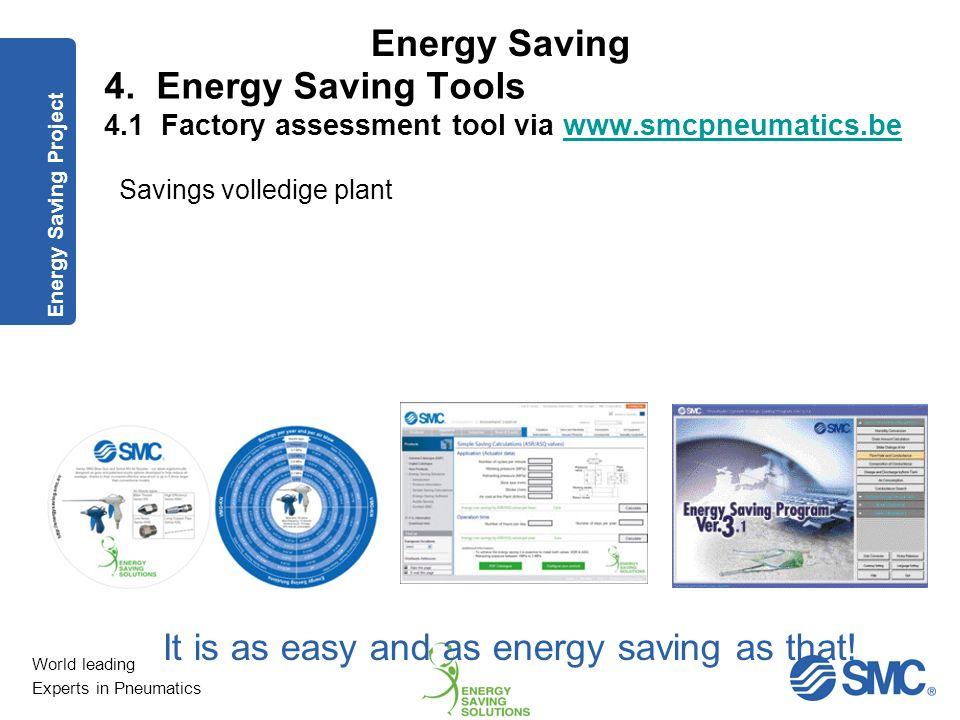 World leading Experts in Pneumatics Energy Saving Beschikbare tools om besparingspotentieel te berekeningen (ROI) – Easy Energy Saving Calculators (ww