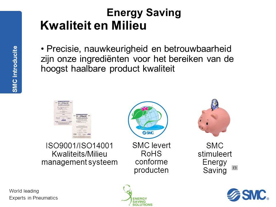 World leading Experts in Pneumatics Energy Saving 1.Lekkage analyse Acties lekkage Lekvrije toepassing onmogelijk.