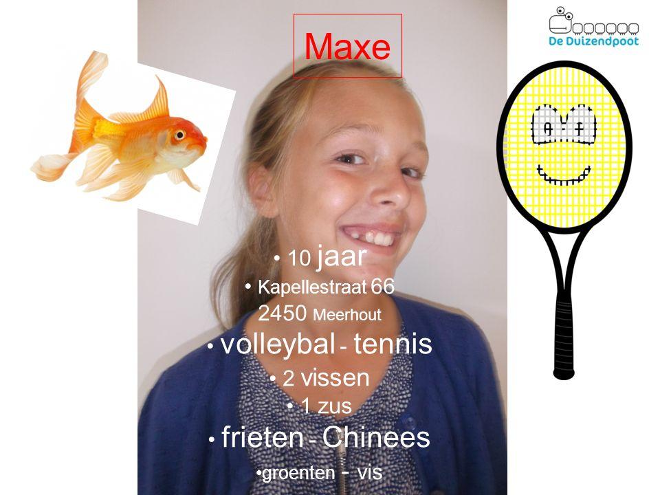 Maxe 10 jaar Kapellestraat 66 2450 Meerhout volleybal - tennis 2 vissen 1 zus frieten - Chinees groenten - vis