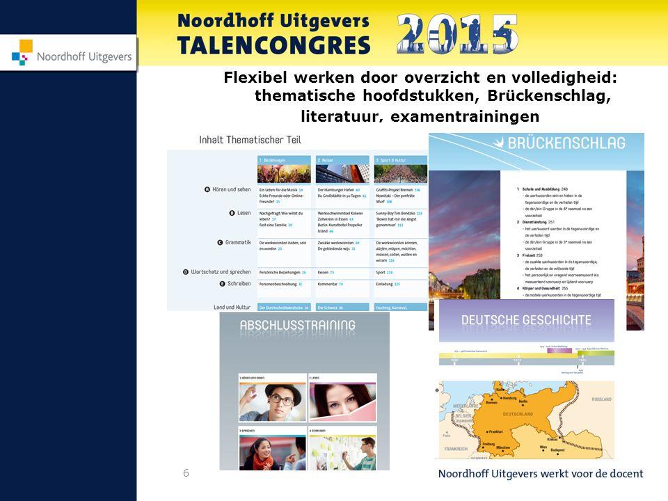 7 Opbouw handboeken 4/5 havo 5 thematische hoofdstukken 5 hoofdstukken Brückenschlag 4 Abschlusstrainingen + Nachschlageteil 2 hoofdstukken Literatur + 1 online Deutsche Geschichte Grammatikübersicht