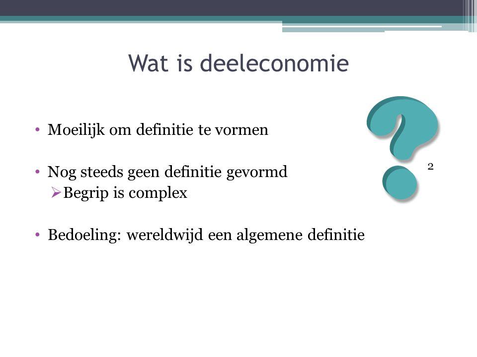 Wat is deeleconomie Moeilijk om definitie te vormen Nog steeds geen definitie gevormd  Begrip is complex Bedoeling: wereldwijd een algemene definitie